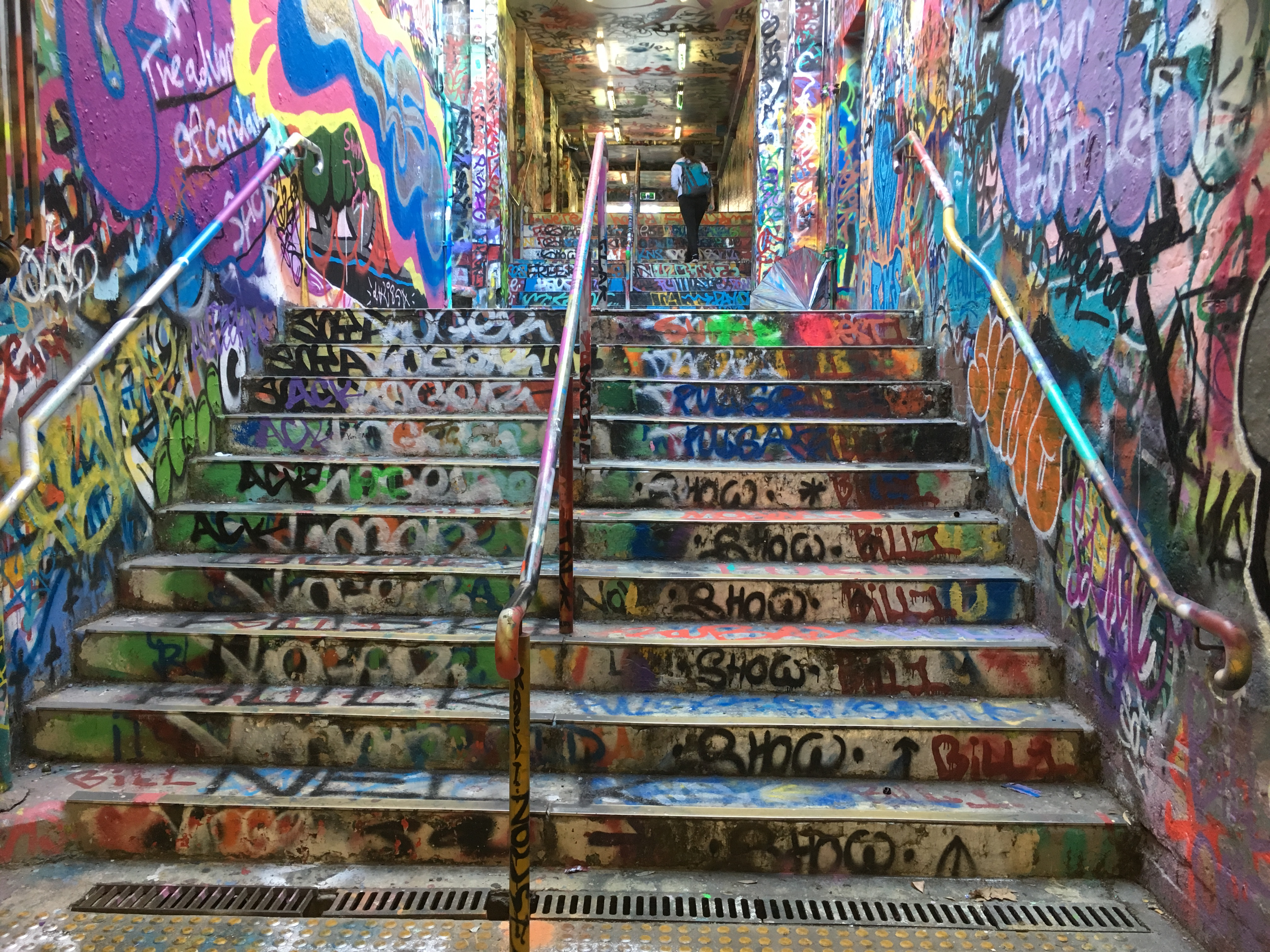 Stairs inside the graffiti tunnel