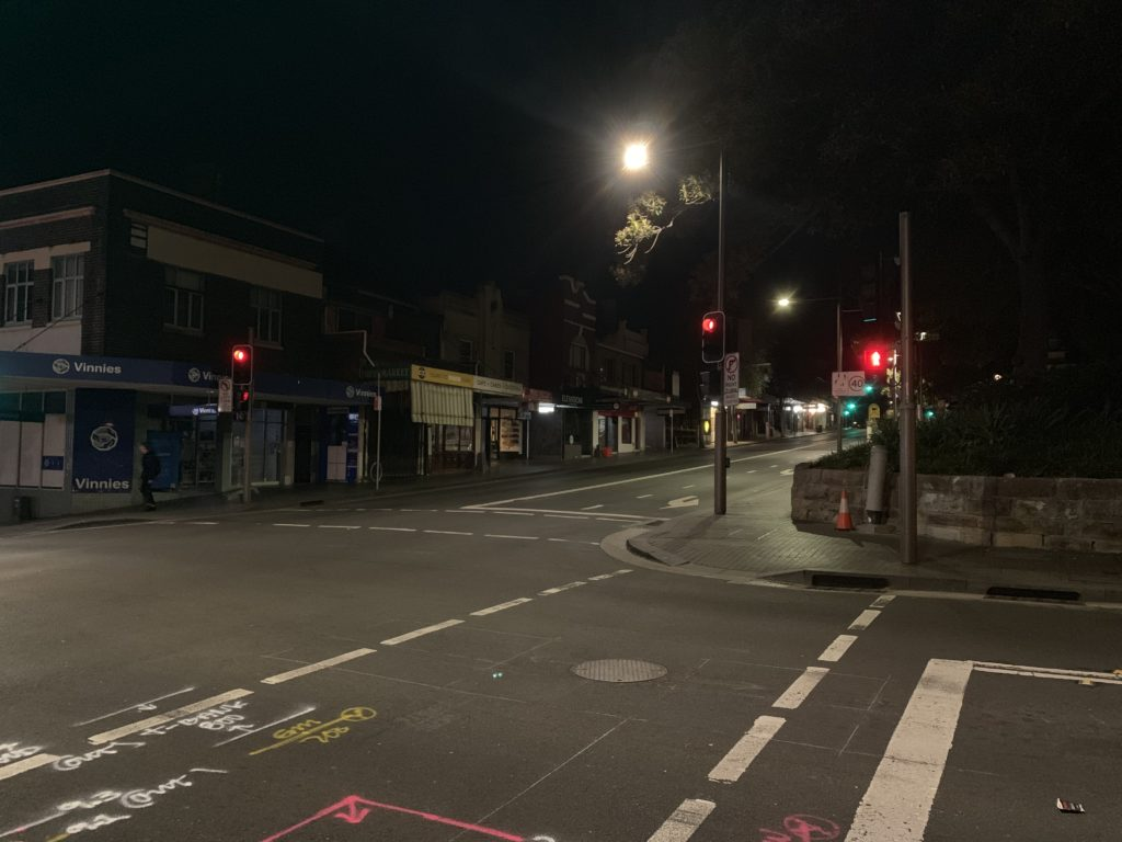 At 23:30, people are hardly seen on Glebe Point Road