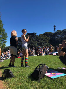Hayden Moon, 2019 Disabilities Officer at USYD, speaks at a rally in Newtown