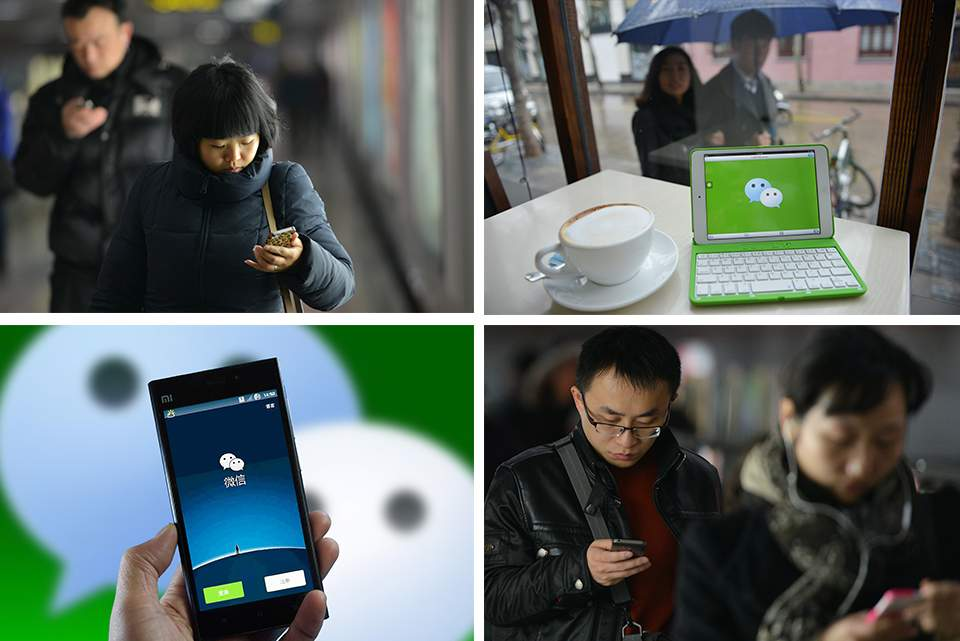 Chinese people using WeChat