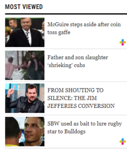 The most viewed section of The Daily Telegraph