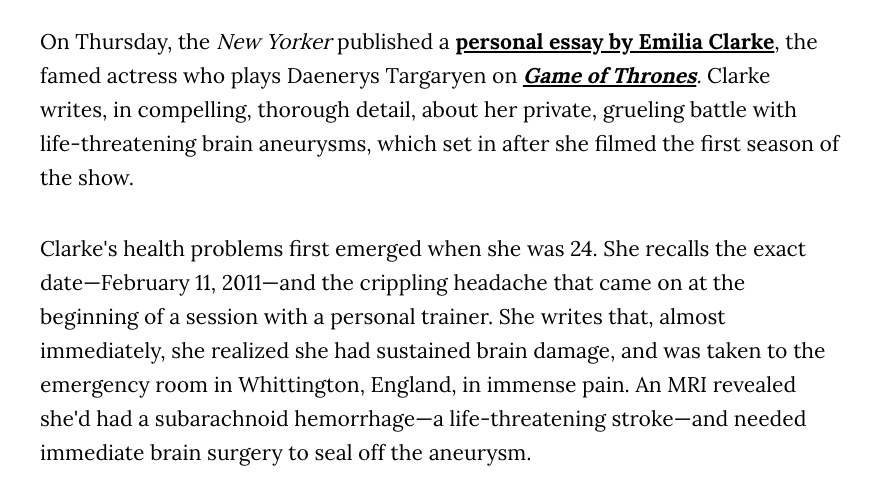 Screenshot from Vice:Emilia Clarke Survived Two Life-Threatening Aneurysms While Filming 'GoT'.