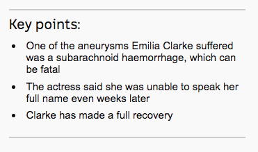 Screenshot from ABC News:Game of Thrones actress Emilia Clarke reveals she survived two life-threatening aneurysms.