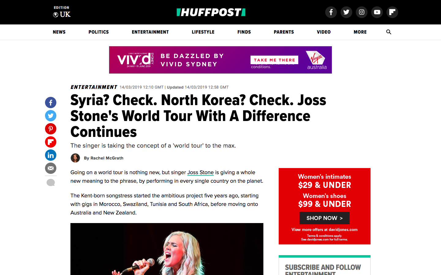 The webpage of HuffPost UK