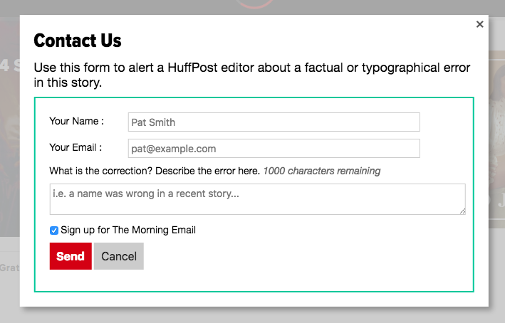 Screenshot of the form to alert a HuffPost editor about a factual or typographical error in this story