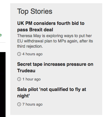 screenshot of top stories