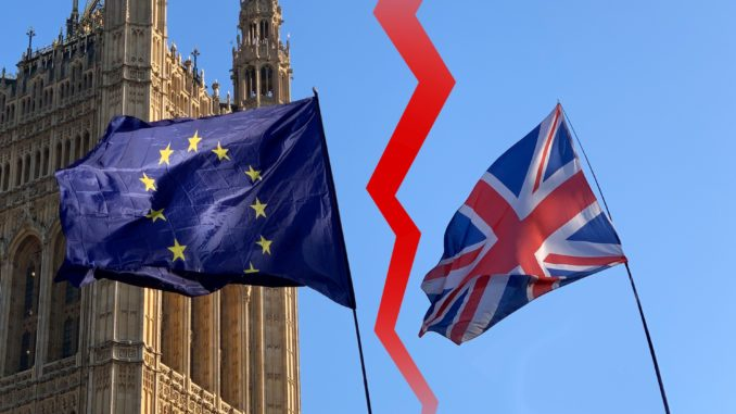 Rupture of the British flag and EU flag