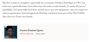 Screenshot of Vogue UK' article: The author put the least important information about the first women spacewalker at the end (March 29, 2019)