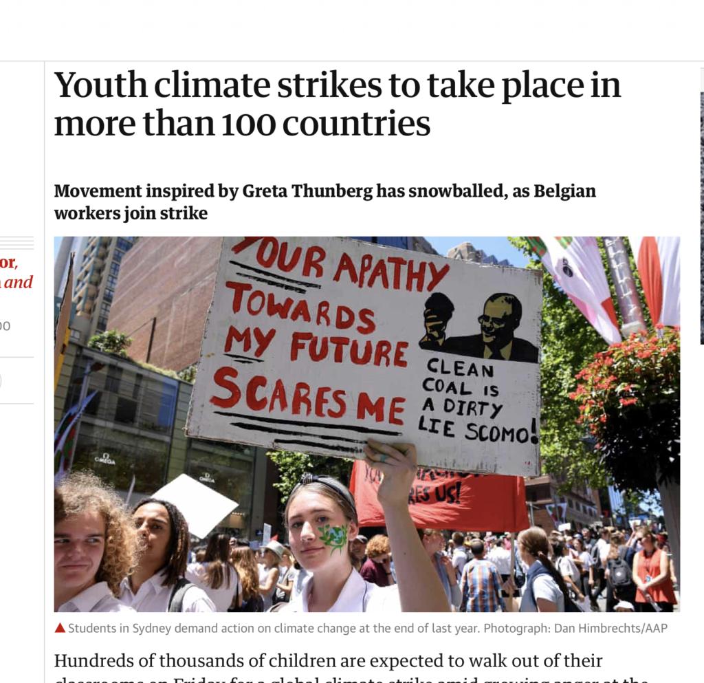 The guardian website climate strike news screenshot