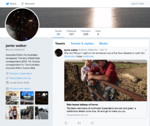 Screen shot of Jamie Walker's Twitter page. Source: Twitter.