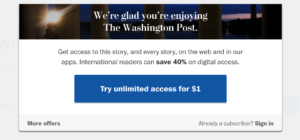 The payment wall of Washington Post