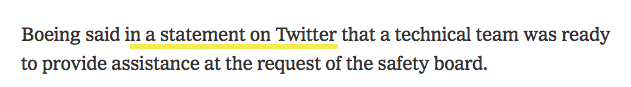The New York Times should have hyperlinked the Twitter statement of Boeing screenshot