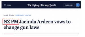 New Zealand and Prime Minister should be included in the title, but not the abbreviation of those two words.