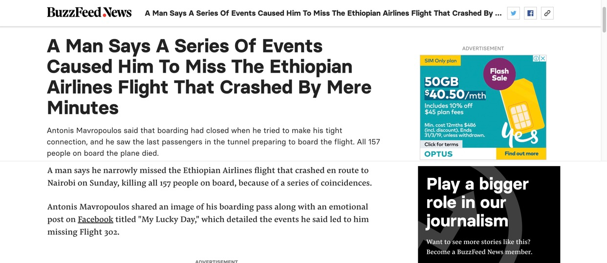 Screen shot of first paragraph in Ethiopian Airlines crash news.