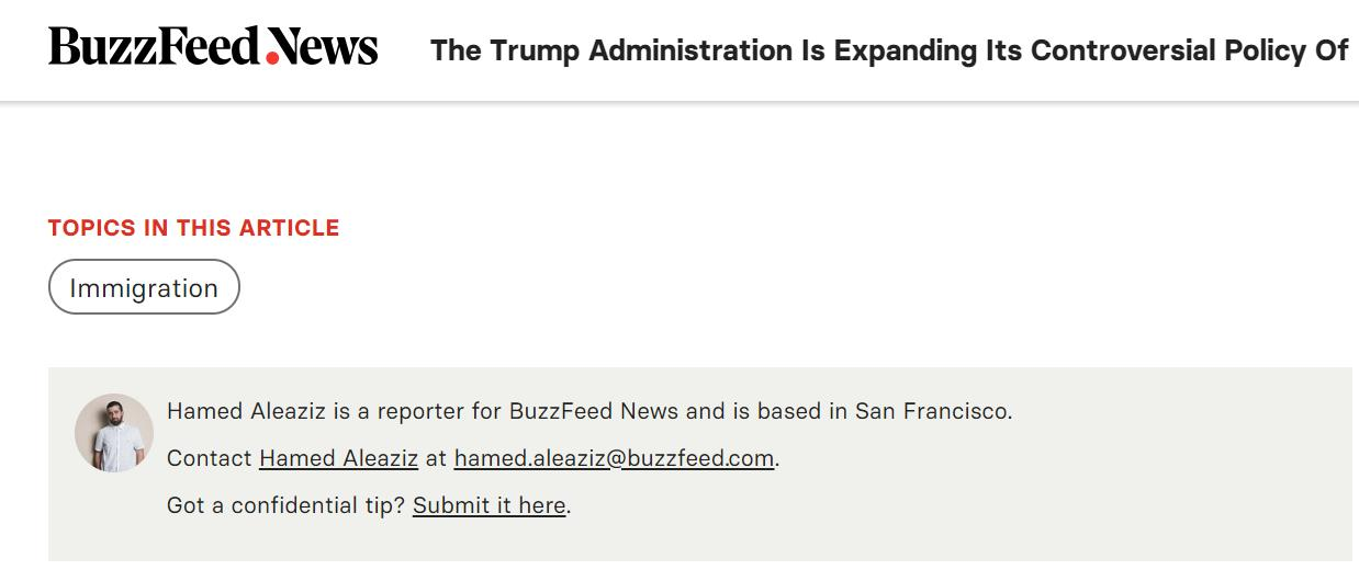 BuzzFeed has detailed contact address of its journalist, Hamed Aleaziz