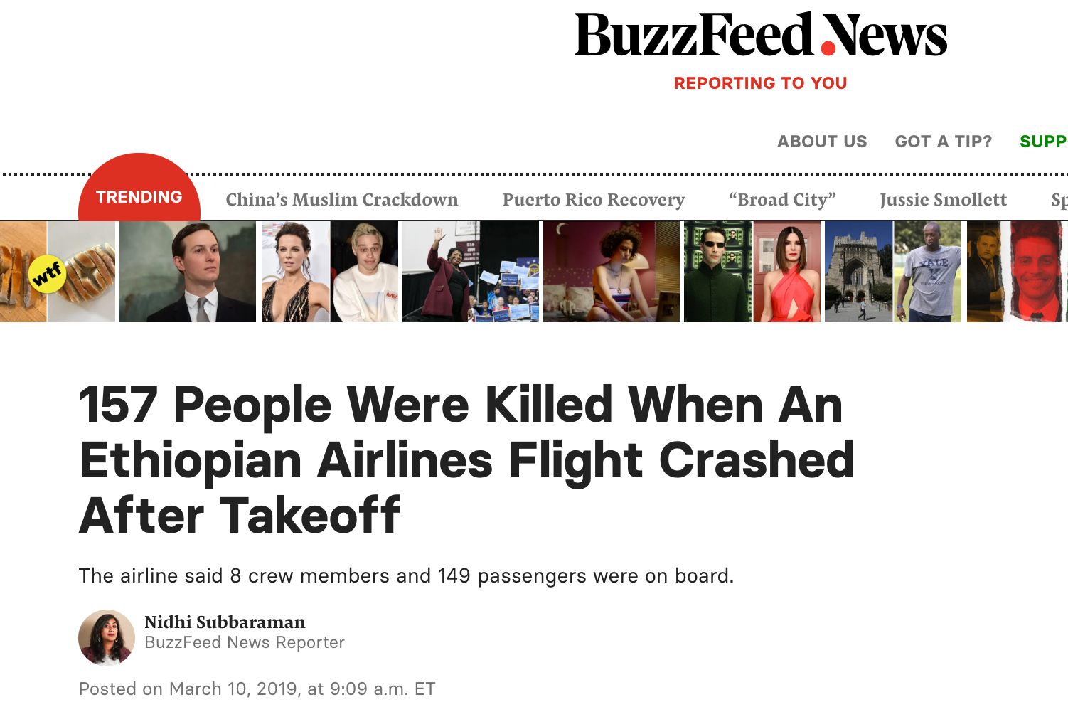 The title of BuzzFeed News about the Ethiopian Airlines Flight Crashed selected by Cora Yuan.
