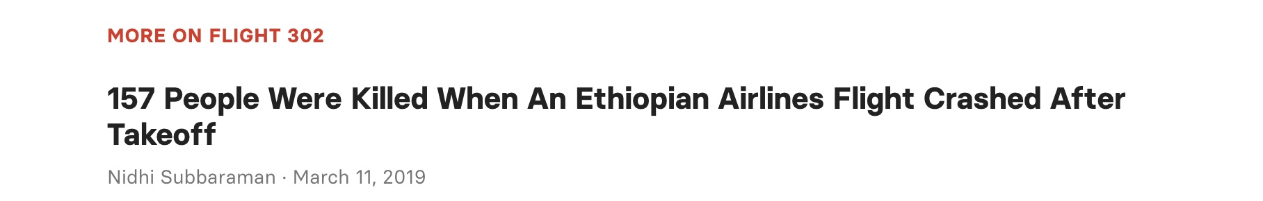 Screen shot of relevant news link in Ethiopian Airlines crash news.