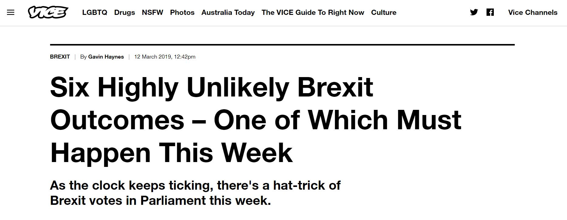 Six Highly Unlikely Brexit Outcomes – One of Which Must Happen This Week