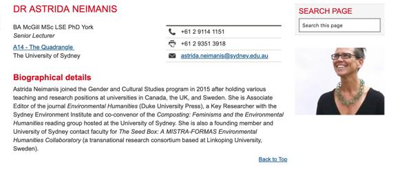 Profile of Dr Astrida Neimanis