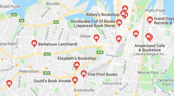 Secondhand bookstores located in Sydney (Screenshot from Google Maps)