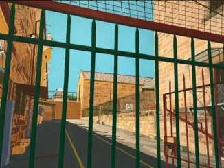 Painting by a prisoner of Long Bay Correctional Complex shows a view from behind bars.
