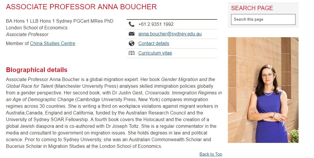 the Associate Professor Anna Boucher