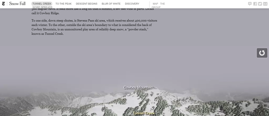The visual look of the New York Times' Snow Falls Project