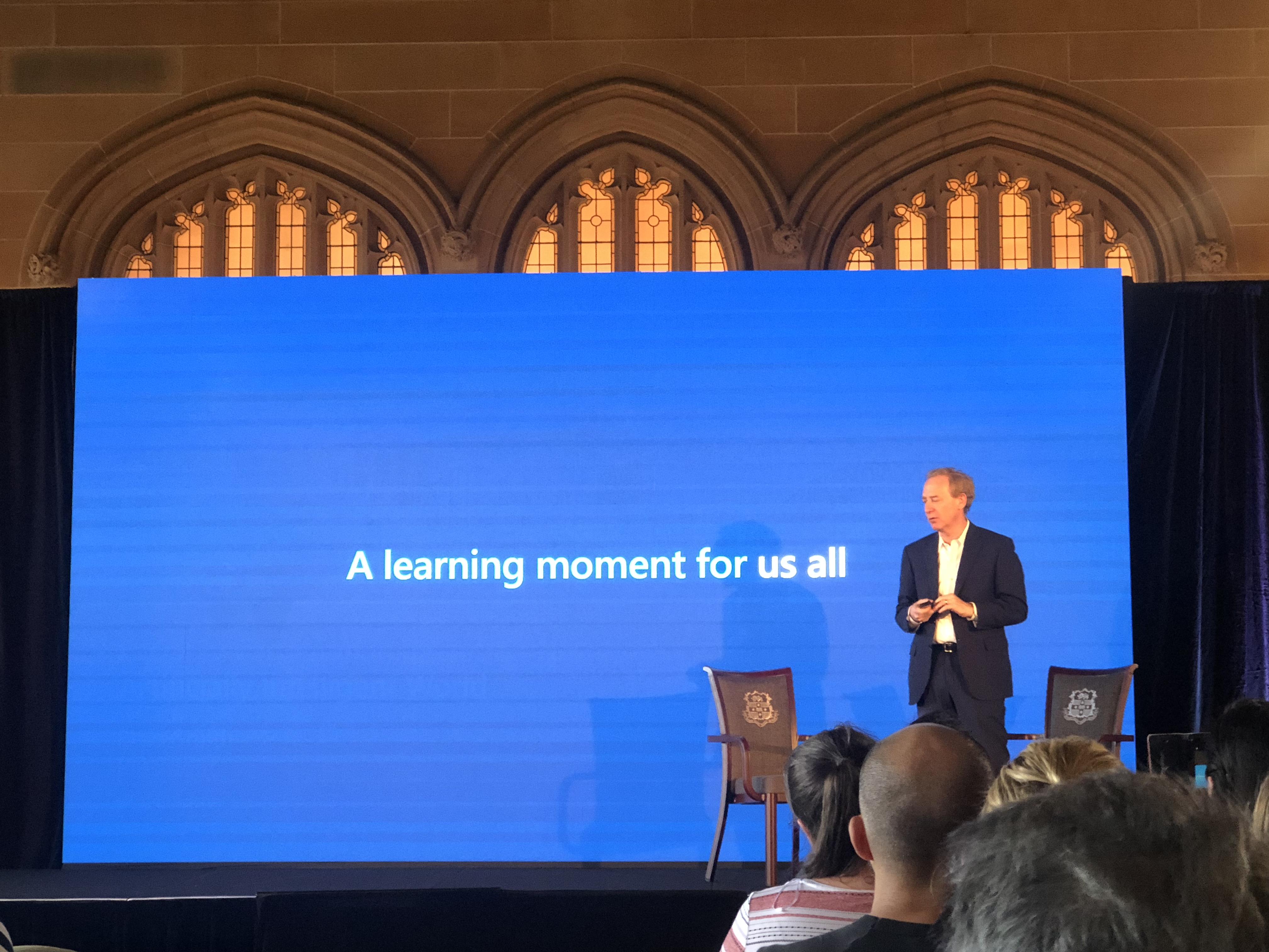 Microsoft president Brad Smith starts the speech of AI | Ranyang Liu