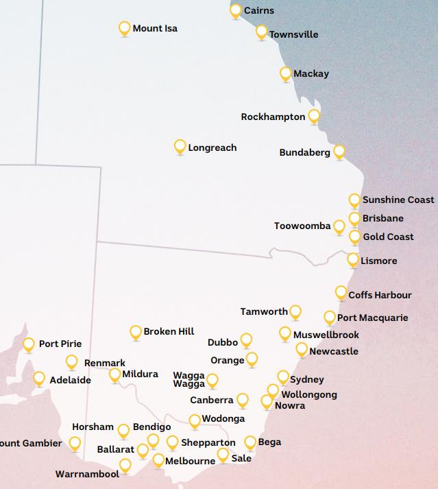 The ABC covers the main cities in East Australia