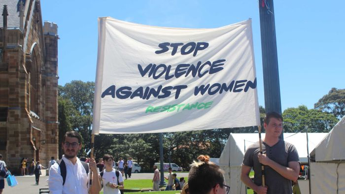 Students at the University of Sydney gathered to protest against sexual assault on campus