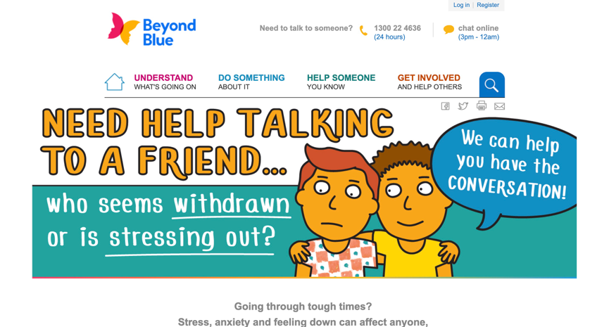 the beyondblue website for the youth suffering from mental illness