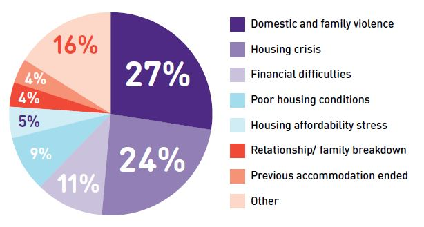 Pie chart showing the different causes of homelessness
