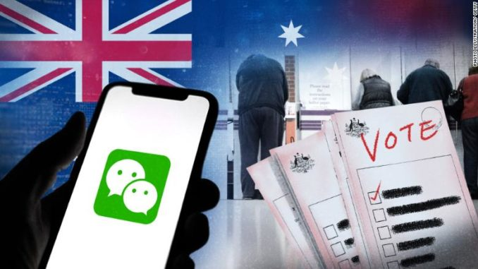 illustration of Australian election and WeChat