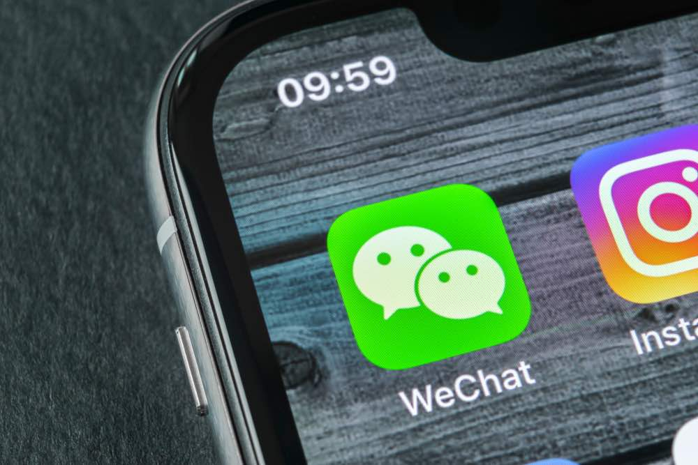 WeChat app displaying on iPhone