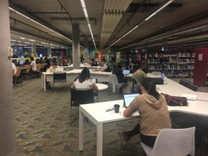 (photo of students in fisher library)