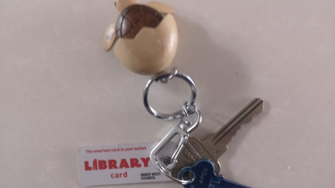 Keyring with keys and library card