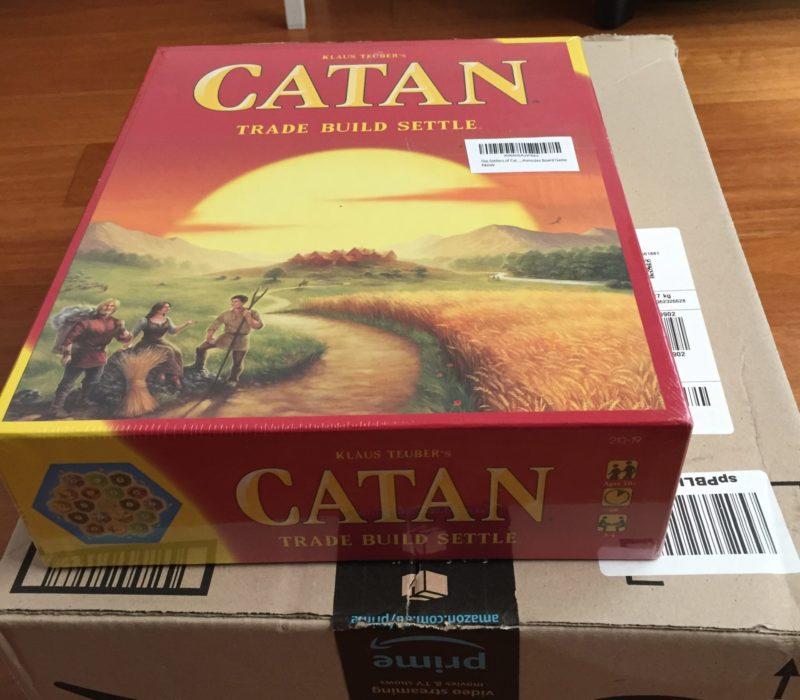 Catan board game on Amazon box