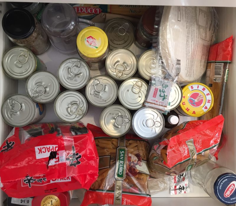 Canned food, pasta and instant noodles
