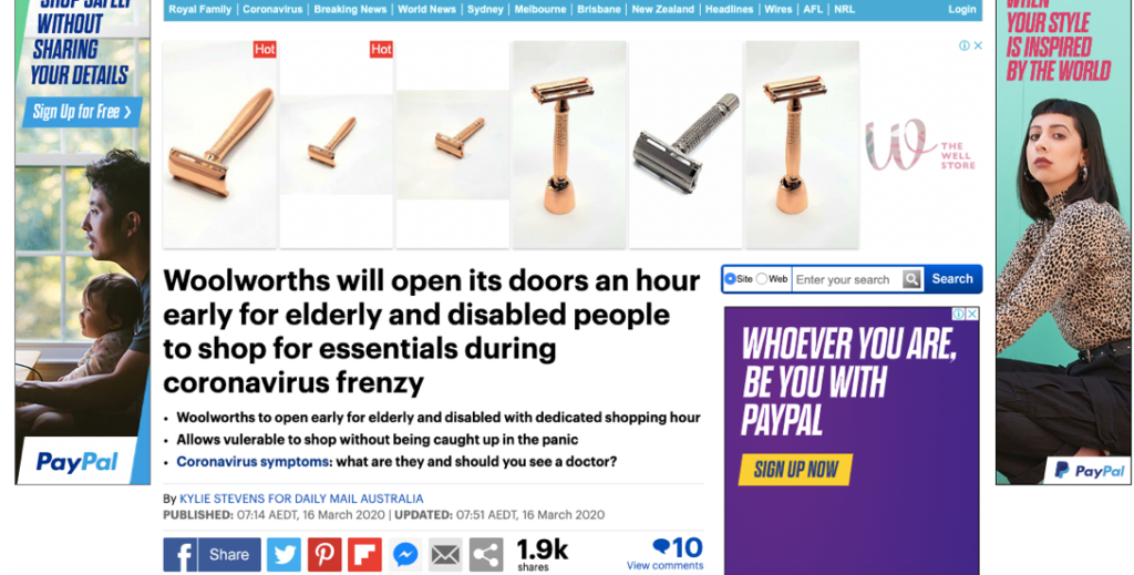 DailyMail Woolworths Opening Hours Feature. Image via: DailyMail