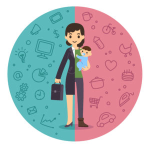 Illustration of the concept of life and work balance. Young businesswoman in suit on the left and with baby on the right.