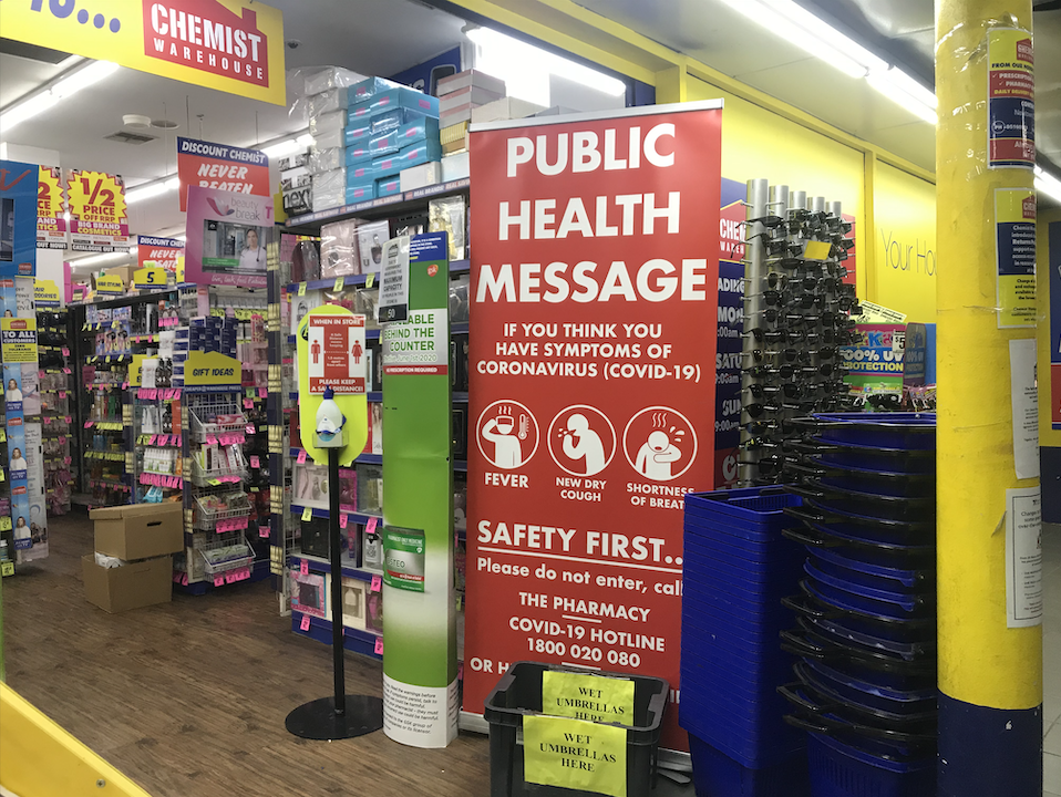 COVID-19 public health message at Chemist