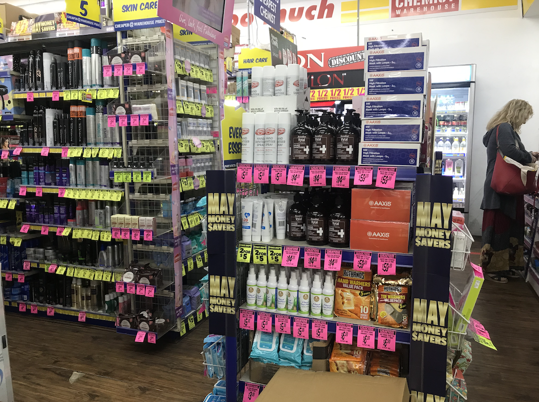 Hand sanitizers sold at the front of the Chemist
