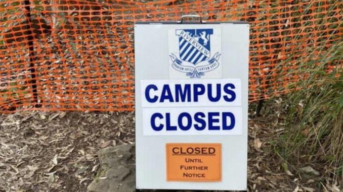 Campus closed sign