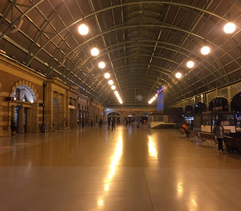 Central Station's empty hall at 7 p.m.