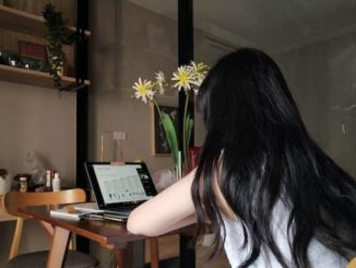 A student is taking online classes at home
